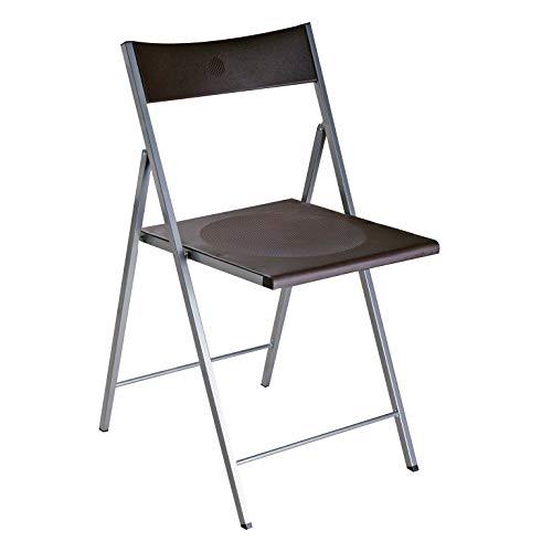 Versa Belfort Silla de comedor, cocina o terraza, Plegable, Medidas (Al x L x An) 93,5 x 48 x 56,5 cm, Plástico y metal, Color Negro