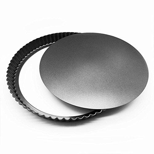 MUZIYU, teglia con diametro di 28cm, con fondo rimovibile, per quiche e torte salate con buon rivestimento antiaderente e conduzione del calore ottimale