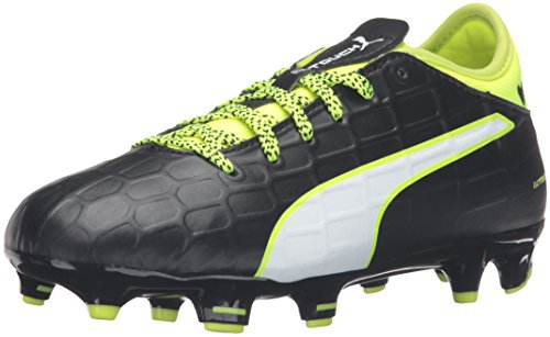 PUMA Kids' Evotouch 3 Firm Ground Soccer Shoe, Black-White-Safety Yellow, 3.5 M US Big Kid