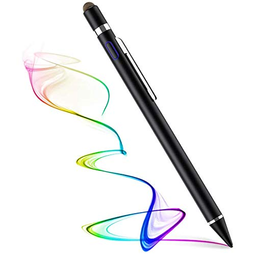 Hengqiyuan Active stylus pen for all touch screens. Rechargeable stylus pen with 1.45 mm fine tip, the capacitive stylus is compatible with Apple iPad, iPhone and Samsung tablets,Black