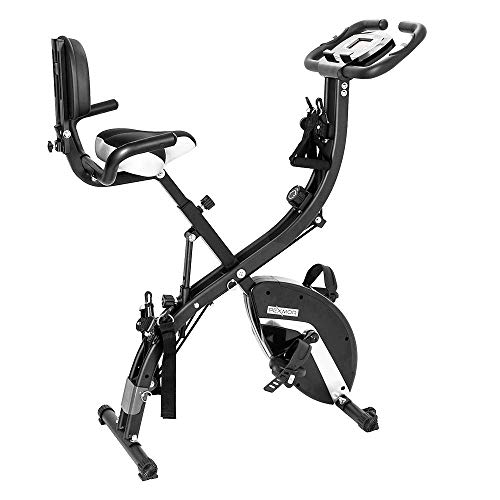 PEXMOR 3 in 1 Adjustable Folding Exercise Bike Convertible Magnetic Upright Recumbent Bike with Arm Bands and Leg Bands (Black)