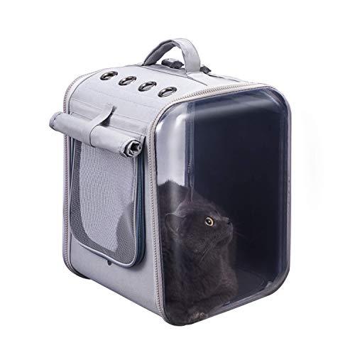 猫用キャリーバッグ 大型ペットキャリーバッグ 最大9kgの成年猫と6kgの犬の持ち運びも可能です 折り畳み可 広い空間ペットキャリーバッグ 通気性抜群 形状安定 透明設計 通院 お洒落 (ライトグレー)