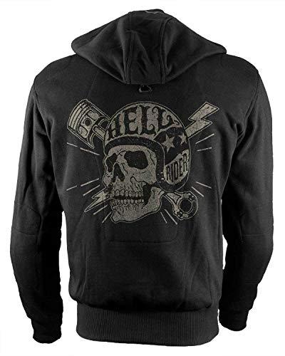 Rebel on Wheels Biker-Hoodie Motorrad-Hoodie Aramid Hell Rider Skull Schwarz Kapuzen Jacke Motorrad L