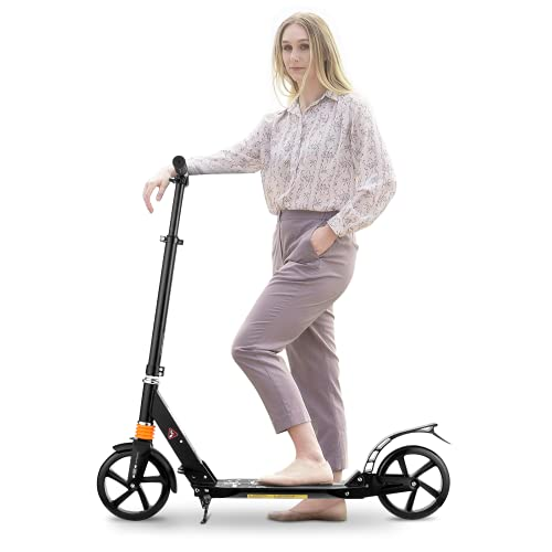 CAROMA Scooter for Adults and Kids, Folding Kick Scooter with Adjustable Handlebar Dual Suspension and Kickstand, Big Wheel Scooter Support 220lbs, Commuter Scooters for Teens 12 Years and Up (Black)