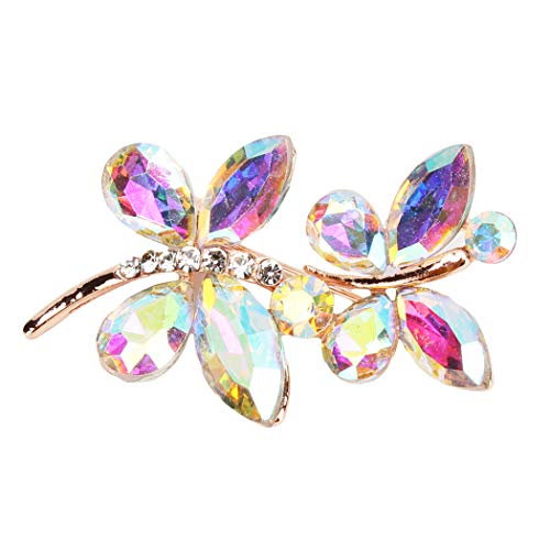 CH Vintage Butterfly Brooch Pin Rhinestones Cute Animal Shape Corsages Scarf Clips Brooches for Women,White A