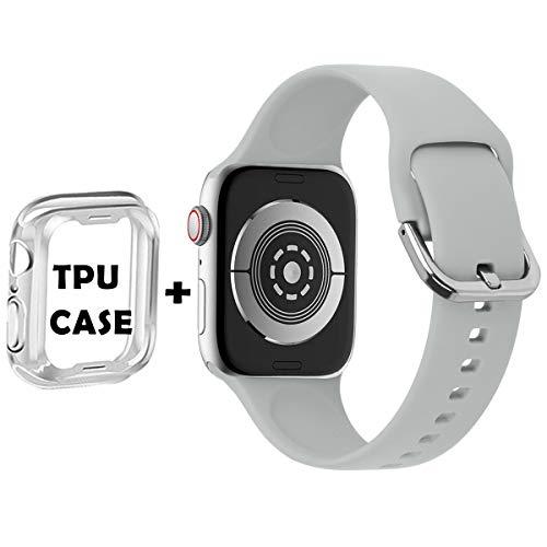 Anzhee Sport Cinturino Compatibile per Apple Watch Cinturino 38mm 40mm 42mm 44mm, Morbidi Silicone Impermeabile Cinturini di Ricambio Compatibile per iwatch Serie 5, 4, 3, 2, 1 per donna uomo 42mm/44mm S/M