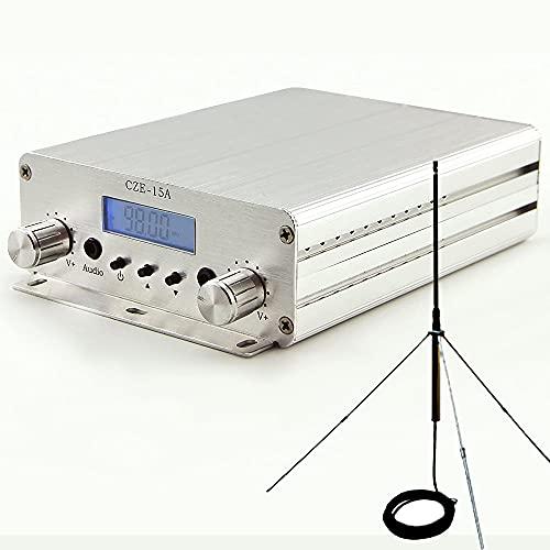 15W fm Transmitter Long Range FM Exciter 88Mhz - 108Mhz + GP 1/4 Wave Antenna + PowerSource