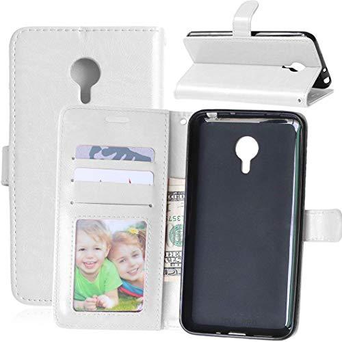 Wenlon Handy PU Hülle für Meizu MX4 Pro, Hochwertige Business Kunstleder Flip Wallet Handyhülle mit Card Slot Funktion, Bracket Funktion - Weiß