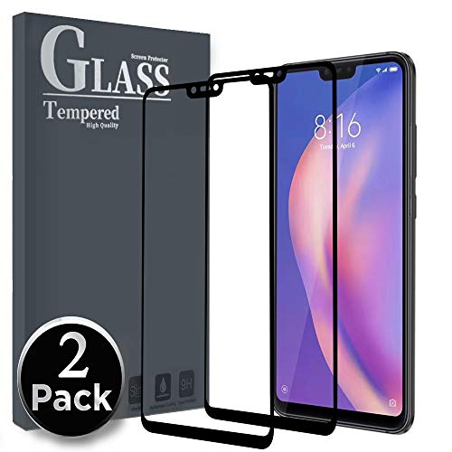 Ferilinso Tempered Glass Xiaomi Mi 8 Lite, [2pack] [Full Coverage] [Fully Adhesive Glue] [Self-absorption] [Correct] Protective Film for Tempered Glass Without Bubbles (Black)
