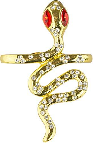 Das Kostümland Zwei Finger Ring Goldene Schlange mit Strass zum Cleopatra Kostüm - Gold Rot - Schmuck Ägypten Verkleidung Karneval