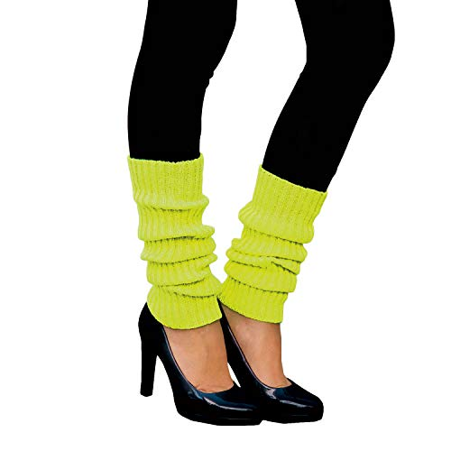 Oblique Unique® Sexy Damen Bein Stulpen Neon Strümpfe für 80er Jahre 80s Motto Party Fasching Karneval Tanzen Aerobic Kostüm Accessoires - Farbe wählbar (Neongelb)