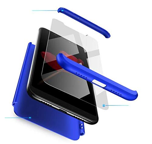 AKC Coque Compatible Oppo A3 Mince Cover 360°Protection Con 2* Verre Trempé Housse Anti Chuter Anti-Rayures Hard Case-Bleu
