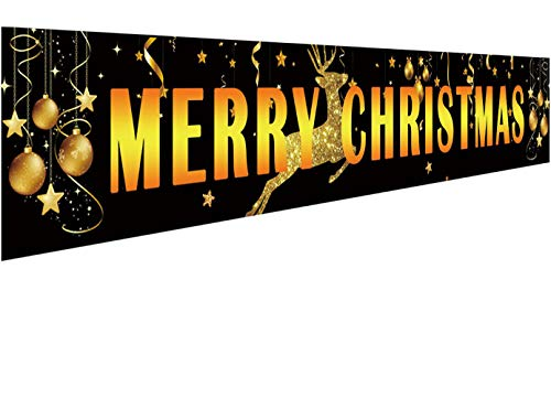 Large Merry Christmas Banner | Black Gold Christmas Outdoor & Indoor Hanging Decor | Huge Xmas Yard Sign | Christmas Holidays Party Supplies Decorations | Christmas Party Photo Backdrop - 9.8 x 1.6FT