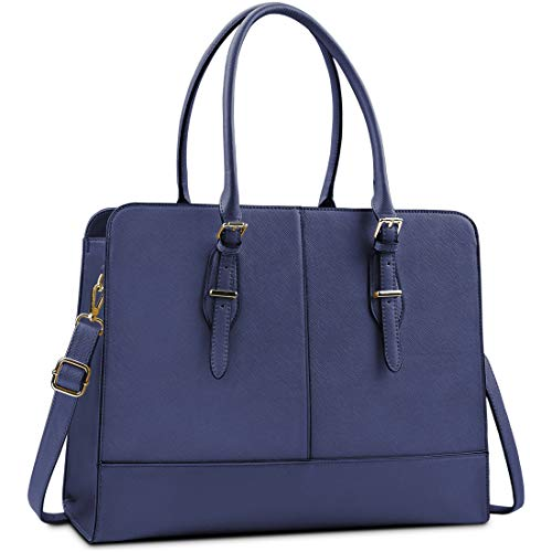 Lubardy Laptop Bags for Women 15.6 inch Ladies Leather Laptop Handbag Work Handbags Womens Tote Bag Office Blue