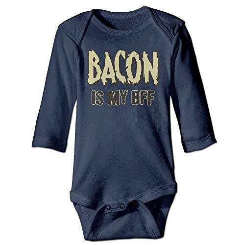FULIYA Baby Crawler Baby Jersey Bodysuit Long Sleeve Bodysuit Baby,Unisex Infant Bodysuits Bacon is My BFF Bacon Lovers Girls Babysuit Long Sleeve Jumpsuit Sunsuit Outfit Navy 18M