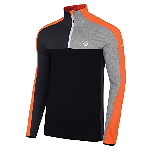Dare 2B Depose Core Stretch Lightweight Quick Drying Half Zip Top, Strato Intermedio Uomo, Clementina/Nero, XXXL