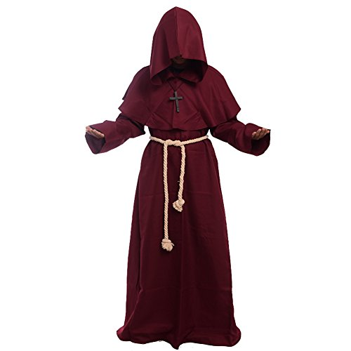 BLESSUME Robe Friar Medieval Renaissance Cowl Hooded Monk Costume, M, Red