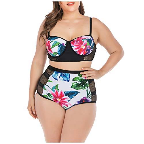 Lazzboy Badeanzüge Damen Bikini Große Größen Set Bademode Bikinis Für Frauen Bandeau Push Up Plus Size Zwei Stücke Badeoberteil Mit Hoher Taille Bottom(Rot,4XL)