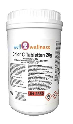 well2wellness Calciumhypochlorit Chlortabletten \'Chlor C Tabletten\' 20g - anorganisch, speziell für weiches Wasser 1,0 kg
