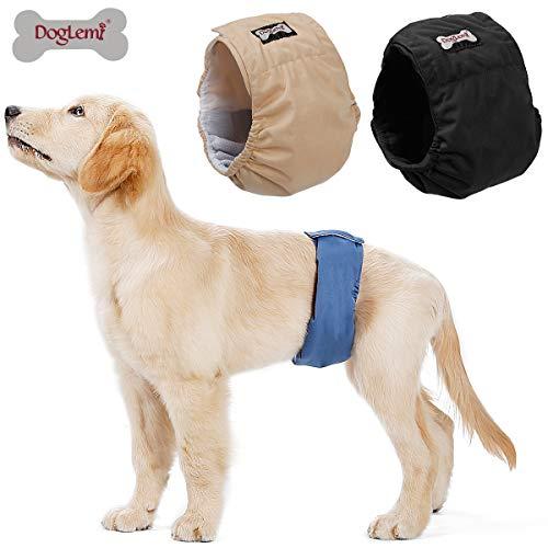 Doglemi Pañales lavables para perros machos [3 unidades], bragas higiénicas para adiestramiento de perros, 6 tamaños disponibles (S: 30-40cm)