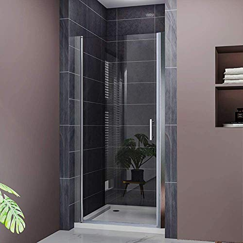 ELEGANT 30 in. W x 72 in. H Pivot Swing Shower Door 3/16 in.Clear Glass Frameless Shower Enclosure in Chrome Finish