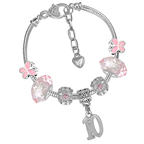 Girls 10th Birthday Pink Butterfly Charm Bracelet with Gift Box