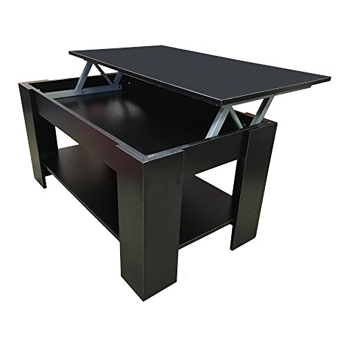 Redstone Coffee Table Lift Up Top with Storage Black