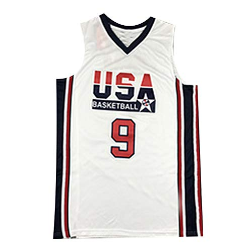 Camiseta de Baloncesto USA Dream Team # 9 Jordan, Traje de Entrenamiento de Baloncesto para Hombre Camiseta de Secado rápido Absorbente de Sudor 100% poliéster Blanco S-XXL-XL