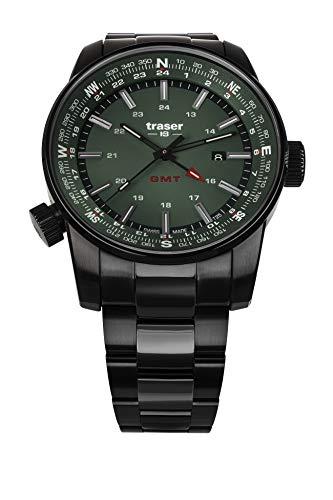 Traser H3 P68 Pathfinder GMT Green Tactical Watch Militär Armbanduhr Edelstahl