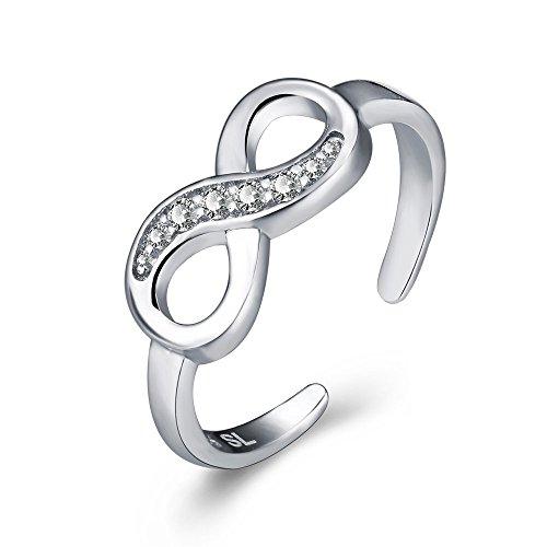 Da donna, in argento Sterling, con anello da piede Infinity in stile polsino protettiva Midi-Anello da dita, nocche, in confezione regalo (regolabile)