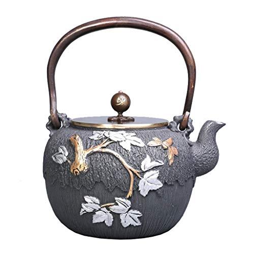 YSXZTCHC 1.2L Tetera de Hierro Fundido Maple Leaf Diseño de Estilo japonés de la Vendimia Caldera, Juego de té de Cobre de la manija/Tapa Universal for la Estufa