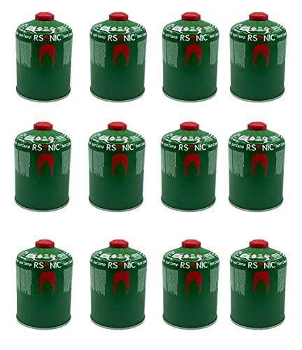 RSonic Schraubventilkartusche, Camping-Gas Butan-Propan/Ventil Gas Kartusche für Campingkocher, Gaskartusche mit Schraubventil Gewinde 100g-230g-450g (12, 450g)