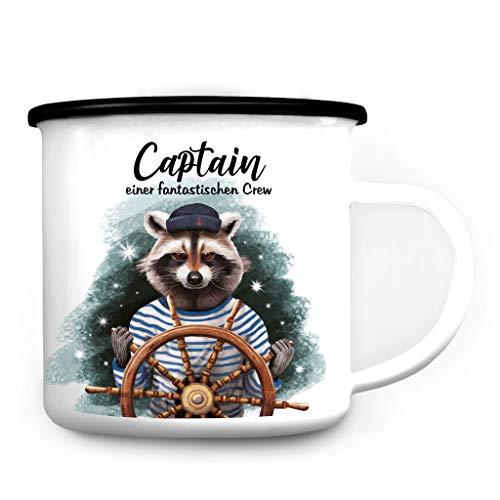 Wandtattoo Loft Campingbecher Emaille Waschbär Captain Einer fantastischen Crew Steuerrad Cheftasse Tasse /