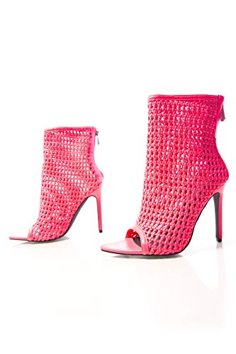 Cape Robbin Weave Sexy Stiletto High Heels for Women, Pointed Peep Toe Booties with Zipper Closure - Pink Size 10