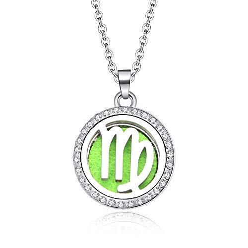 Pendant Constellation,Virgo 12 Zodiac Aroma Box Necklace Magnetic Stainless Steel Women Aromatherapy Essential Oil Diffuser Astrology Perfume Locket Pendant Jewelry Birthday Gift