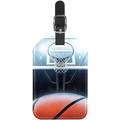 Basketballkorb Lustige kofferanhänger Leder gepäckanhänger Kinder Kreuzfahrt farbige Initiale Kofferanhänger Koffer Set Halter für Taschen 7x11.4cm 7x11.4cm