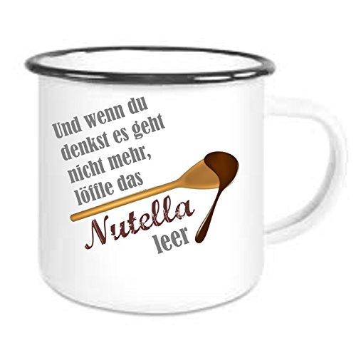Crealuxe Emailtasse mit Rand Und wenn du denkst es geht Nicht mehr - Nutella - Kaffeetasse mit Motiv, Bedruckte Email-Tasse mit Sprüchen oder Bildern
