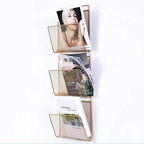 MEIDUO Étagères Organisateur de support de fichier mural, support mural/sur la porte, organisateur de stockage de fournitures de bureau en métal pour ordinateurs portables, agendas, dossiers, 3 poch