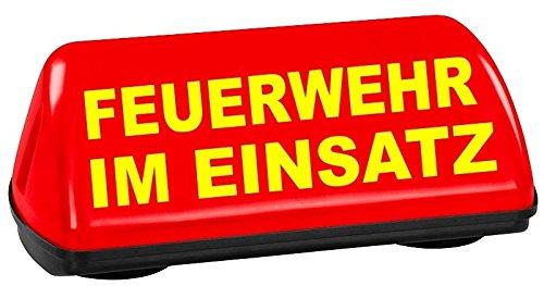 PACO KFZ Dachaufsetzer Speed leuchtrot Feuerwehr im Einsatz TÜV geprüft bis 240 km/h Textfarbe gelb unbeleuchtet