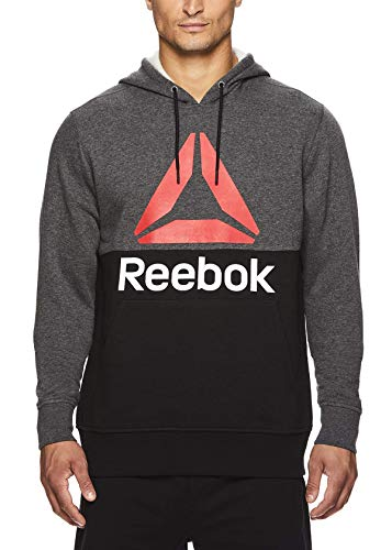 Reebok Men's Performance Pullover Hoodie - Graphic Hooded Activewear Sweatshirt - Char/Black Boost, Large