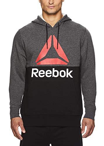 Reebok Men's Performance Pullover Hoodie - Graphic Hooded Activewear Sweatshirt - Char/Black Boost, Medium