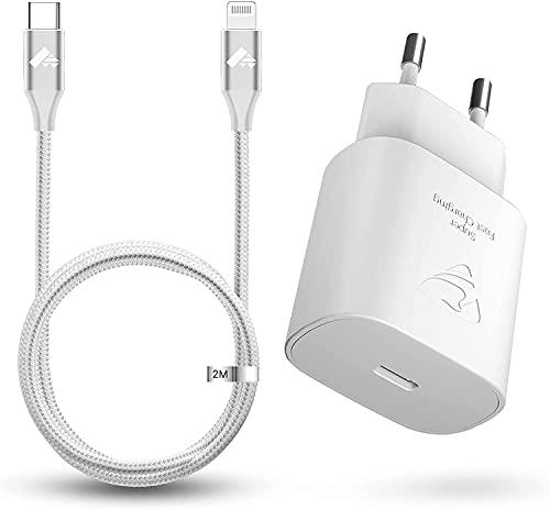Caricatore USB C, Aioneus 25W Rapido Caricatore iPhone, PD 3.0 Caricabatterie iPhone da Muro e Certificato MFi Cavo USB C a Lightning 2M Compatibile per iPhone 12 11 Pro Max X XR XS 8 Plus SE iPad