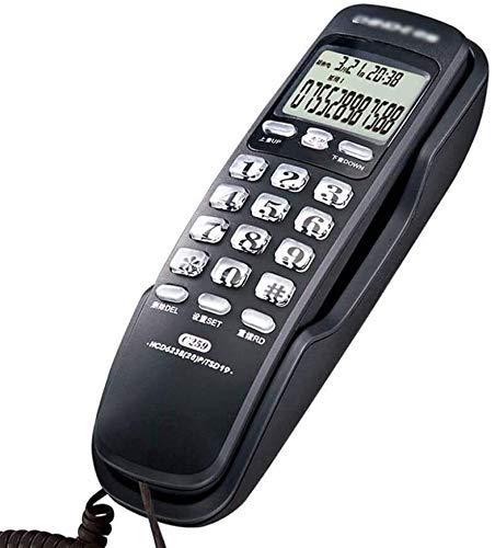 YUBIN Teléfono para el hogar Teléfonos fijos de pared/Teléfonos fijos/pantalla de llamadas Teléfono de pared del hogar Teléfono de la oficina habitación del hotel (color: plata) (color: negro)