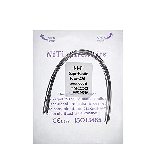 10 Bags Super Elastic Nickel Titanium Ovoid Arches Wire-012/014/016/018/020,Upper and Lower, 10pcs/Bag (020 Lower)