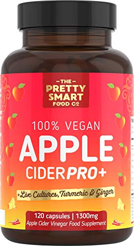 Apple Cider Vinegar Capsules - Boosted with Vegan Live Cultures, Turmeric & Ginger - Raw & Unfiltered ACV Complex - 1300MG Dosage - 120 Capsules - Made The UK