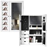 Carme Harper - Armario de pared con espejo blanco con luces LED para dormitorio, organizador de maquillaje, cajones de almacenamiento