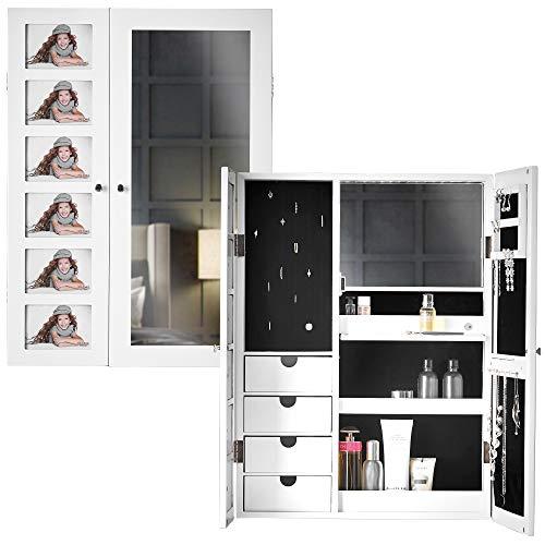 Carme Harper – Wandmontierter Spiegelschrank mit LED-Lichtern für Schlafzimmer, Make-up-Organizer, Schubladen (weiß)