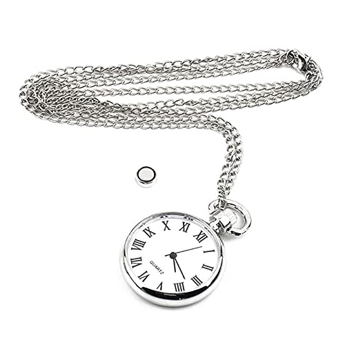 Reloj de Bolsillo clásico Ver el Collar de Cadena de Cadena Larga de la Vendimia Plateado Ronda Colgante de Estilo Antiguo Reloj de Bolsillo Vintage para Hombre