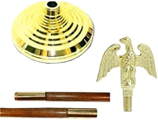 WindStrong Indoor Flagpole Kit Parade Set With Eagle 7ft Oak Pole And Tassel No Flag Included