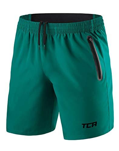 TCA Elite Tech Herren Trainingsshorts für Laufsport mit Reißverschlusstaschen - Smaragdgrün - M